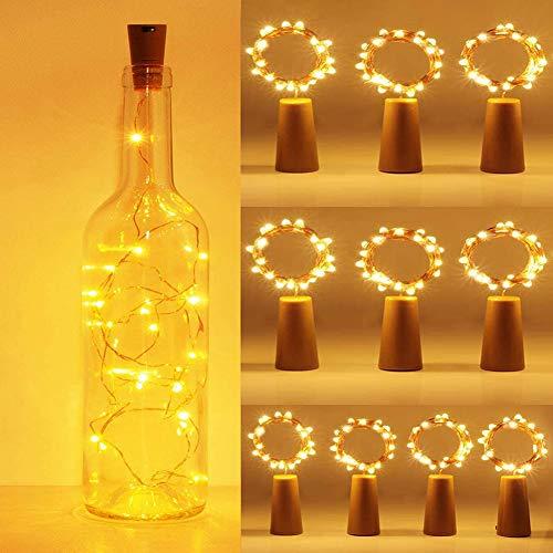 10 unidades de 20 ledes de 2 m, luz blanca cálida, cadena de luces para botellas, luces de ambiente, botella de vino, alambre plateado, con batería y temporizador, DIY, decoración, Navidad