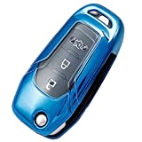 Soft TPU Key Fob Case Cover Protector fit for 3/4 Buttons 2015-2019 Ford F150 F250 Focus 3 Escort Kuga Everest Fiesta Mustang Edge MKV Fusion 2016 Ranger Key Fob Glove Accessories (Blue)