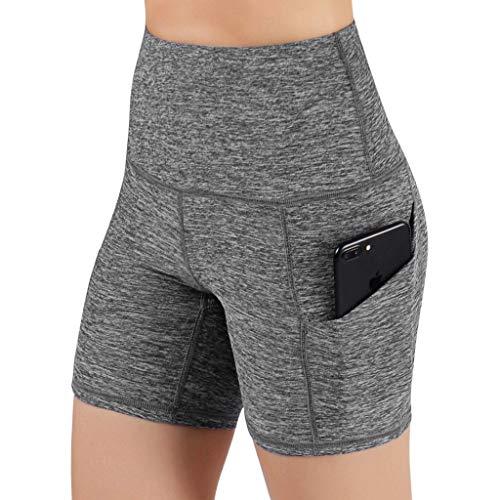 URIBAKY - Leggings cortos para mujer, elásticos de cintura alta de bolsillo, elásticos, para cadera, pantalones de running y fitness, yoga, color liso marrón XXL