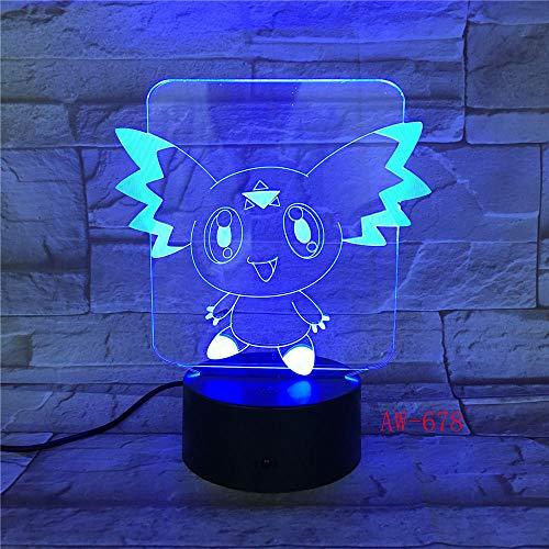 3D Illusionslampe Führte Nachtlicht Digimon Figur Pikachu Eevee Schildkröte Vogel Feuer Drache Pokeball Ball Bulbasaur Bay Geschenk