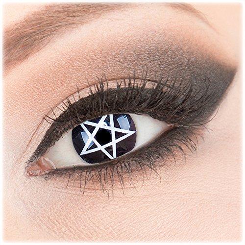 Farbige schwarze weiße Crazy Fun Kontaktlinsen 1 Paar 'Pentagram' mit Kombilösung (60ml) + Behälter - Topqualität von 'Evil Lens' zu Fasching Karneval Halloween ohne Stärke