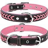 TagME Collar de Cuero para Perro, Collares de Cuero Ajustables y Duraderos con Anillo en D para Perros Medianos, Rosado