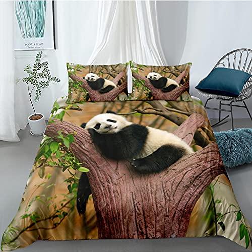 Fundas Nordicas Cama 105 - Panda Animal 3D Juego de Ropa de Cama 200x200 cm Microfibra para NiñOs Adultos - 1 Funda de Edredón y 2 Funda de Almohada 50x75 cm
