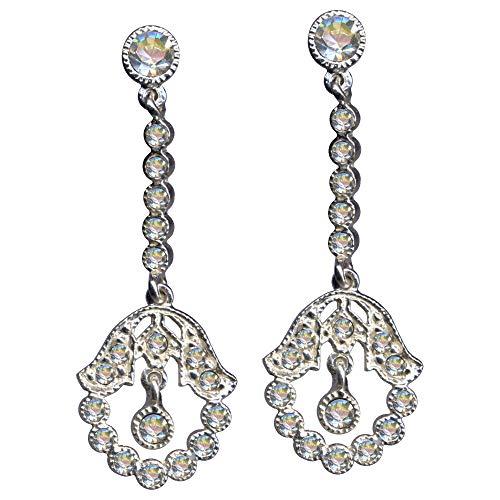 Pendientes de plata de ley 925, estilo modernista, estilo Art Nouveau, color blanco, de auténtica plata de ley 925, circonitas, cristales brillantes, símbolo de amor, extravagante
