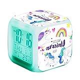 Unicornio Relojes de alarma digitales para niñas, LED de noche que brilla intensamente Reloj LCD con luz para niños Despertar Reloj de cabecera Regalos de cumpleaños para niños Mujeres Dormitorio (3)