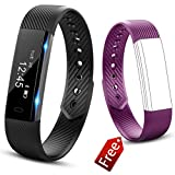 Molorical Fitness Tracker Watch, Smart Band with Step Pedometer, Bluetooth Bracelet Activity Tracker/Sleep Monitor, Calories Track Waterproof Health for iPhone & Android Phones, UP1 (Black Purple)