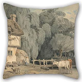 Cushion Covers Of Oil Painting Francis Wheatley - Country Scene- Figures By A Cottage Door And Cattle In A Stream For Dining Room Pub Home Theater Sofa Office Boys 18 X 18 Inches / 45 By 45 Cm(twi