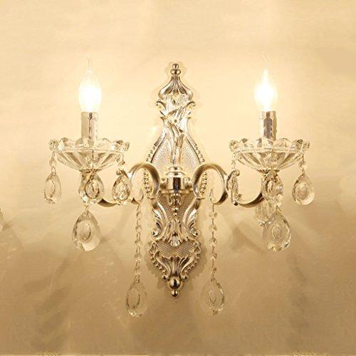 Dubbele kaars, zilverkleurig, kristal, wandlamp, LED, trap, E27, hal, wandhouder, verlichting met kristal, lampenkap, 40 x 43 cm, 20.04.08