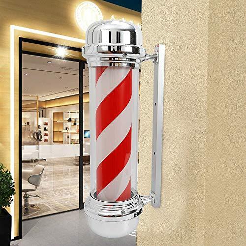 Lámpara LED giratoria de pared Barbershop para salón de peluquería, 28 pulgadas, color rojo y blanco, 220 V