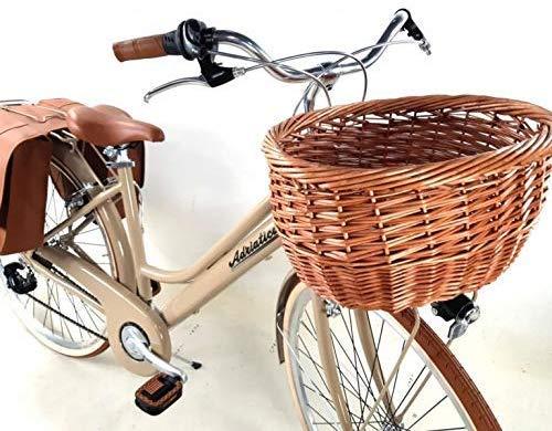 Adriatica Bicicletta City Bike 28″ Donna in Alluminio Cambio 6 velocità + Cestino in Vimini e Borse - Color Marrone Caffelatte