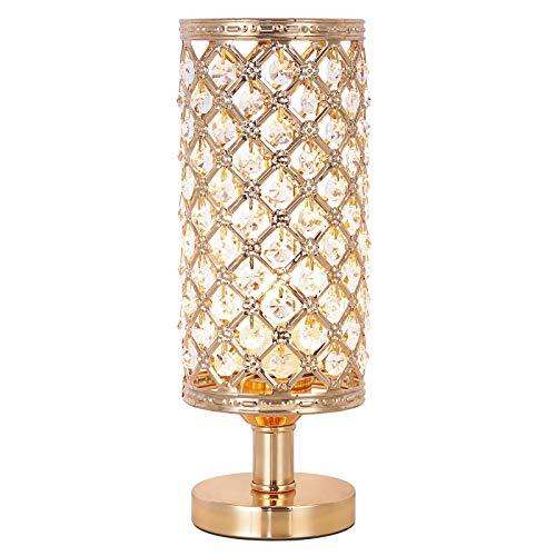 Lámpara de mesa de cristal, pequeña lámpara de mesa moderna para dormitorio, salón, decoración de mesa, color dorado