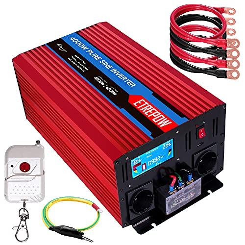 4000w Power Inverter 24v 220v Onda Sinusoidale Pura ETREPOW Convertitore di Tensione Con 2 Prese EU e Una 2,1A USB, Telecomando Senza Fili,Display LCD e 1 Ventilatori - picco 8000w Trasformatore.