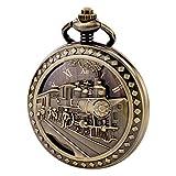 Treeweto - Antico orologio da taschino, da uomo,  movimento meccanico visibile, cassa cava in bronzo, incisione effetto 3D di un treno a vapore, numeri romani