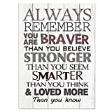 UCUDI Always Remember You are Braver Than You Believe Inspirational Gifts for Women, Girls, Daughters, Sisters or Mom 10 x 14 Inch Large Tabletop Wall Sign