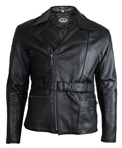 Herren Motorradlederjacke, Motorradjacke, Biker Jacke, Chopperjacke, (M)