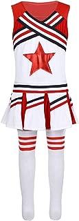 Girls Children Cheer Uniform Sequin Red Star School Dance Camp Cheerleading Cosplay Costumes