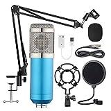 Nrpfell Kit de Micrófono Colgante Bm-800, Grabación de Transmisión en Vivo Juego de Micrófono de Condensador de Diafragma Grande (Azul)