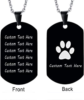 XUANPAI Free-Engraving Men's High Polished Army Dog Tag Pendant Necklace Personalized Gift