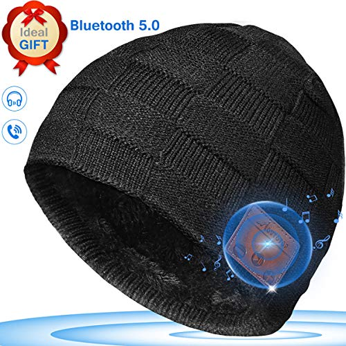 MOVTOTOP Bluetooth Beanie, Upgraded V5.0 Bluetooth Hat Black