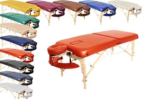 Mobile Profi Massageliege London klappbar und höhenverstellbar 76 cm breit inkl Massagezubehör wie Kopfstütze und Tragetasche Orange ABVERKAUF