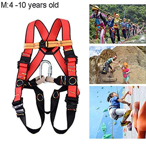 Harnais d'escalade Antichute, Baudrier Escalade Harnais de Sécurité Réglable Enfant pour Alpinisme, Escalade, Rappel, Adapté aux 3-10 Ans, Couleur: Noir + Rouge