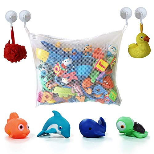 COSY ANGEL Bath Toy Storage Bag for Bath Toys with 4 BPA Free toys UK Approved - Large Toddlers Bathroom Organiser Net with 4 Suction Cups Hooks