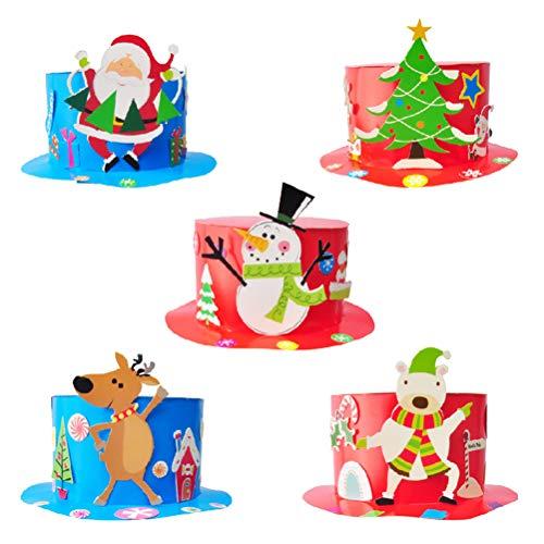 BESTOYARD Lustige Weihnachtsmützen für Weihnachten, DIY, Papier, Mütze, Basteln, Weihnachten, Zubehör für Kinder, 5 Stück