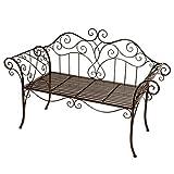 nxtbuy Gartenbank Selene aus pulverbeschichtetem Metall in Rost-Optik 2-Sitzer mit romantischen Ornamenten