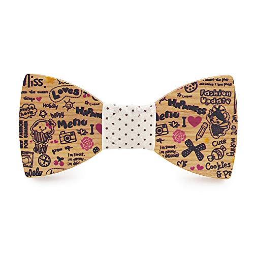 Caballero pajarita para hombre Las mujeres de los hombres de madera pajarita lindo Comic Color impreso regalo de Navidad cumpleaños pañuelo clásico hombres accesorios joyería Elegantes corbatas de laz