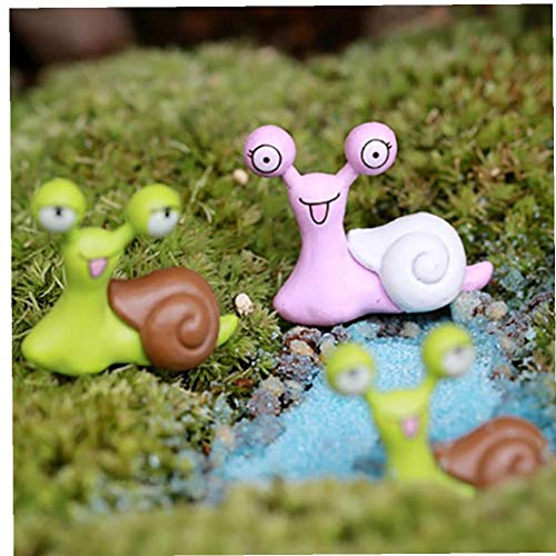 CULER 5PCS Decor Miniature Escargot Figurine Fée Jardin Dollhouse Ornement Décoration Accessoires Outils Fournitures Figurine Couleur aléatoire