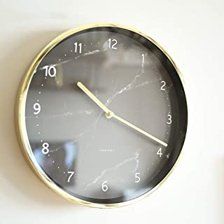 Silent Wall Clock (no Scale) (12/14 Inch Diameter) Stylish Black And White Marbled Gold Frame Classic Wall Clock For Livin...