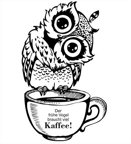 greenluup Wandsticker Wandaufkleber der frühe Vogel braucht viel Kaffee Küche Wanddeko (Kaffee Schwarz Weiß)