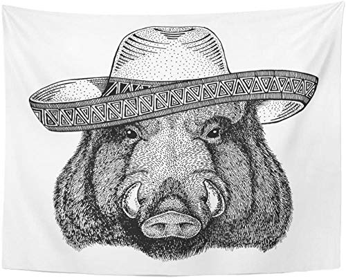 Boar Hog Wild Animal Wearing Sombrero Fiesta Party West Character Drawing Tapestry Wall Hanging 150x200cm