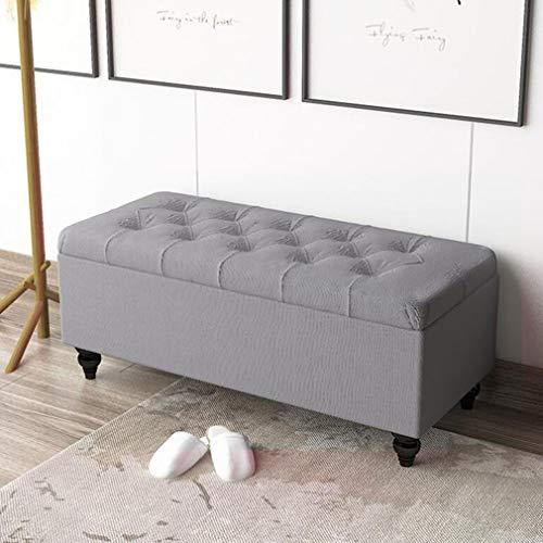 LXESWM Fällbar förvaring byrå förvaring sko bänk fotpall puff förvaringsbox säng pall soffpall (färg: Fg, storlek: 90 cm)