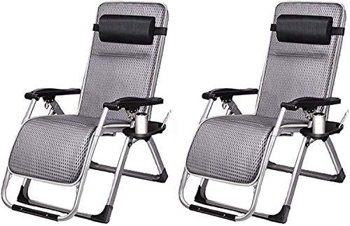 Juego de 2 sillas de jardín plegables y reclinables para tumbonas reclinables, sillas reclinables, sillas reclinables, sencillas y reforzadas, para uso al aire libre