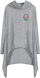 CCOOfhhc Women's Casual T Shirt Dresses Funny Graphics Solid Long Sleeve Mini Dress Pullover Irregular Hem Loose Hooded Dress
