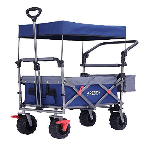 Arebos Bollerwagen Faltbar mit Dach | Luxus Handwagen | Klappbar | Gerätewagen | Inkl. Gurt (Blau)