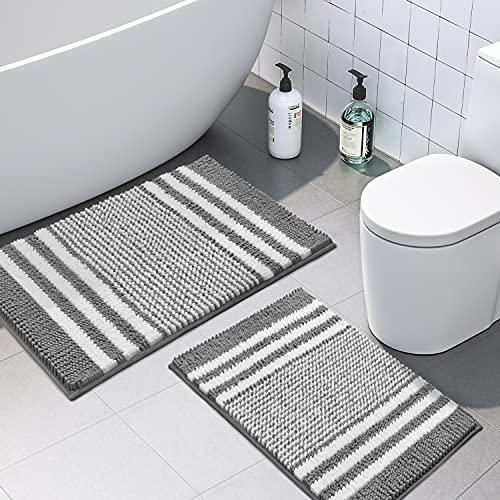Bathroom Rugs Set 2 Piece, Extra Soft and Absorbent Fluffy Striped Chenille Bath Mat Rug Set, Non Slip Bathroom Floor Mat, Machine Washable (20' x 32'...