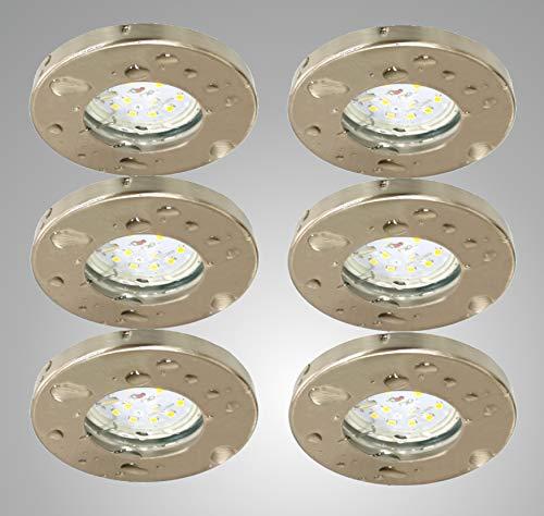 Trango 6er Set IP44 LED Einbaustrahler Einbauleuchten TG6729IP-062B Badleuchte Deckenspots Deckenstrahler in Nickel matt für Bad Dusche Sauna inkl. 6x 3 Watt LED Leuchtmittel 3000K warmweiß