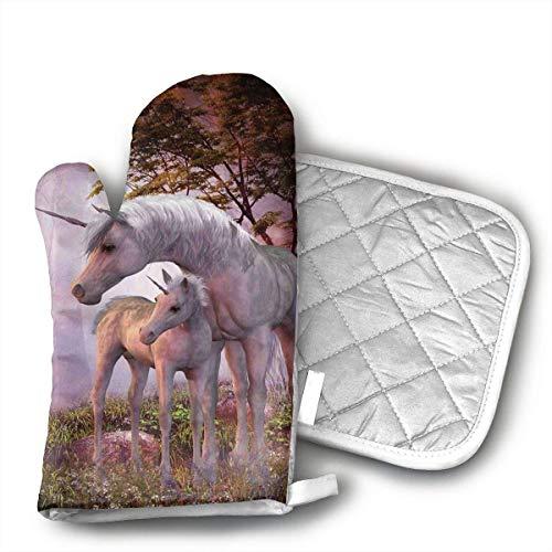 Topflappen und Ofenhandschuhe, Einhorn-Pferd, magische Tier-Topflappen und Ofenhandschuhe, attraktive Topflappen und Ofenhandschuhe für Küche, Kochen, Grillen