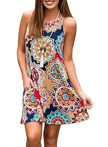 Vestido para Mujer Boho Mujer Verano sin Mangas Beach Printed Mini Vestido Corto