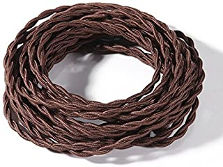 FadimiKoo Electrical Cord 28Ft Brown Round Cotton Cloth Cord, 18/2 Electrical Antique Wire For Vintage Bulb, Pendant Light And Other Industrial Antique DIY Projects, UL Listed