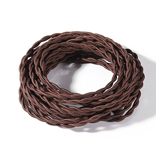 FadimiKoo Electrical Cord Brown 28Ft Twisted Cloth Cord, 18/2 Cotton Covered Electrical Antique Wire For Vintage Bulb, Pendant Light And Other Industrial Antique DIY Projects, UL Listed