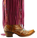 HHH Designs Red Long Leather Fringe (10inche Tassels) (Embellishment for Purses, Jackets or Other Accessories)