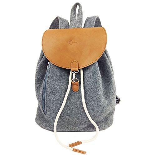 Venetto Designer Rucksack aus Filz und Leder Elementen sehr leicht Backpack Unisex (Grau)