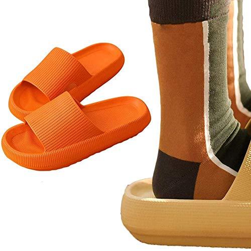 Unisex Kopfkissen Slides, Super Soft Home Slippers Rutschfest Schnell Trocken Dusche Hausschuhe Dicke Sohle Schuhe für Strand Outdoor Orange_43-44