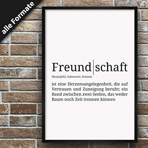Definition: Freundschaft | DIN A3 | Premium Spruch-Poster für Küche Wohnzimmer oder WG | Kunstdruck für den Bilderrahmen