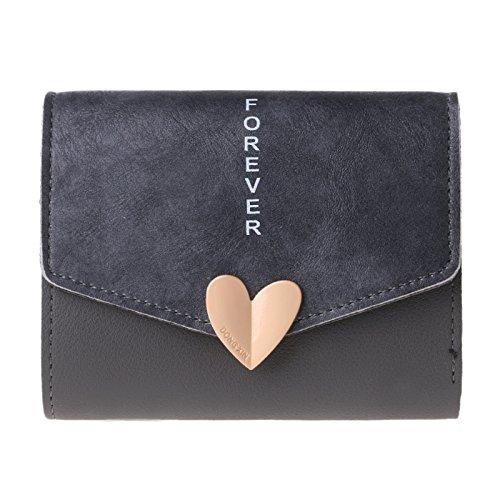 Lamdoo donne portafoglio pulsante borsa Lady breve borsetta pochette rosa, Similpelle, Deep Gray, 11.5x9x2cm/4.53x3.54x0.79(approx)