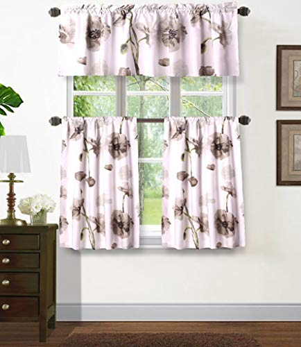 """Sapphire Home 3PC Rod Pocket Floral Kitchen Curtain 54"""" Width, Decorative Gray Floral Print, Soft, Light Filtering Room Darkening Thermal Foam Back Lined, Window Valance Decoration, DRP KC Gray"""