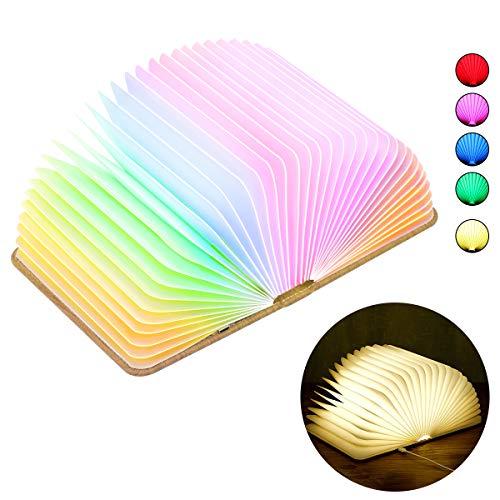 Oplaadbare LED Mood Lighting, Fulighture Nachtlampen, Houten Opvouwbaar Boek Gevormd Licht, met Magicfly Oplaadbare USB-poort, Decoratief geschenk voor Tafellamp, Wandlamp, Nachtlampje (Multi kleuren)